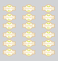 set organic vegetables badges vector image