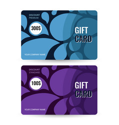 set premium and standard gift card blue and vector image