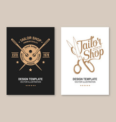 set tailor shop covers invitations posters vector image