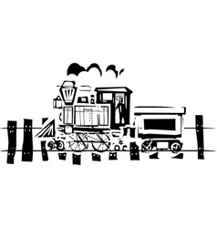 Simple woodcut locomotive vector