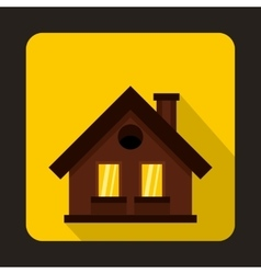 Small brown cottage icon flat style vector image