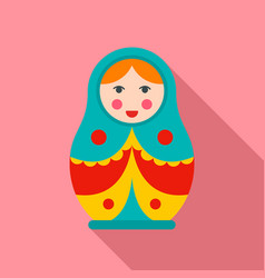 soviet nesting doll icon flat style vector image