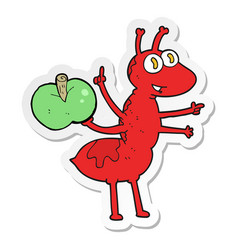 Sticker of a cartoon ant with apple vector