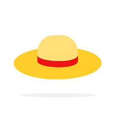 straw hat flat isolated vector image