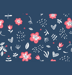 summer floral seamless pattern on dark blue vector image