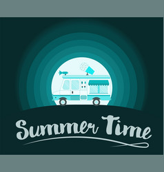 summer time poster ice cream truck vector image