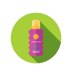 Sun Cream in Spray flat icon with long shadow vector image