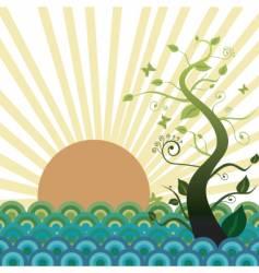 sun sea and nature vector image