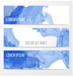 Three banners with abstract blue ink painting vector