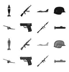 Weapon and gun symbol set vector