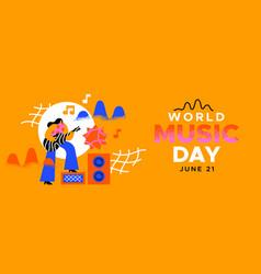 world music day banner fun girl playing guitar vector image