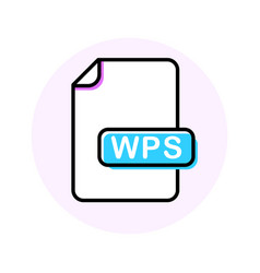 Wps file format extension color line icon vector