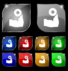 Arm muscle with dumbbell in hand icon sign Set of vector image