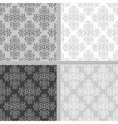 Collection of damask seamless pattern vector image