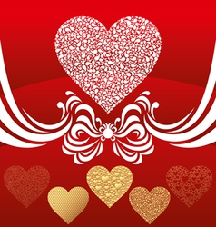 hearts with floral vector image