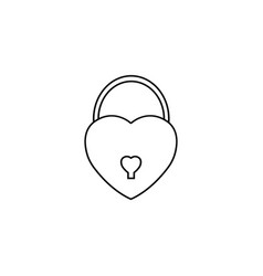 lock heart shaped line icon love sign valentines vector image