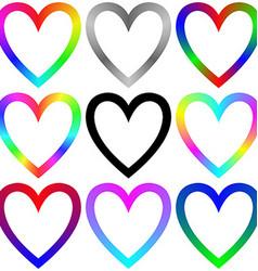 Rainbow gradient heart icon template set vector image