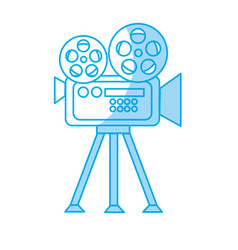 silhouette movie camera to projection scene vector image