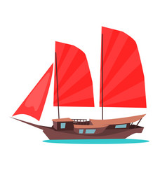 traditional wooden junk ship flat icon vector image