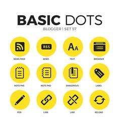 blogger flat icons set vector image