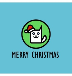 Christmas Card with image of cute kitty vector image vector image