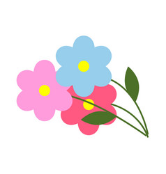 three flowers with green leaves in cartoon style vector image vector image