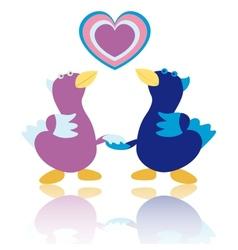Cartoon ducks on white background vector image