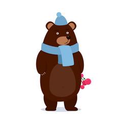cartoon teddy bear wearing a scarf gives gift vector image