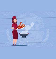 female chef cook holding kebab cartoon chief in vector image vector image