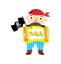 pirate character with scroll icon vector image