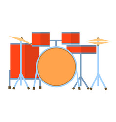 red drum set on white background bass tom-tom ride vector image