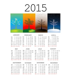 2015 calendar with seasons vector image vector image