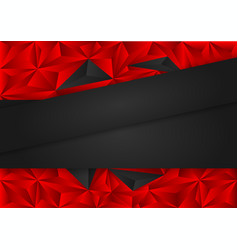 black and red polygon abstract background vector image vector image
