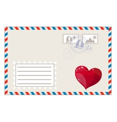 Blank envelope with heart and brands ready to ship vector image vector image