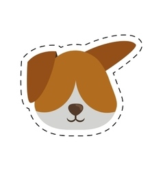face doggy pet with line dotted vector image