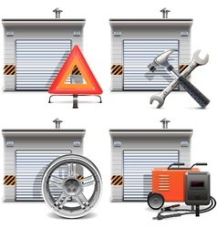 Garage with Spares and Tools vector image