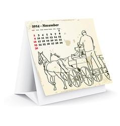 November 2014 desk horse calendar - vector image vector image