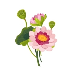 Pink Garden Flower Hand Drawn Realistic vector image