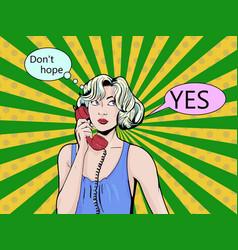 pop art vintage comic girl talking on the phone vector image