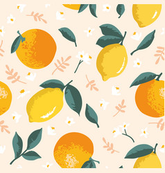 summer pattern with lemons oranges flowers and vector image
