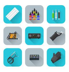 tattoo equipment icons set vector image