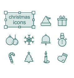 Thin line icons set Christmas vector image vector image