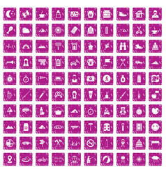 100 family camping icons set grunge pink vector