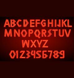 80 s red neon retro font futuristic script vector