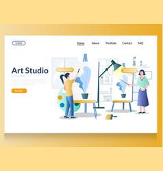 Art studio website landing page design vector