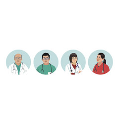 asian medics chinese medical characters doctors vector image