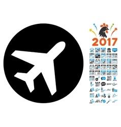 Avion Icon with 2017 Year Bonus Symbols vector image vector image
