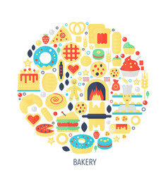 Bakery pastry flat infographics icons in circle vector