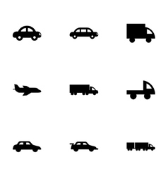 black vehicles icons set vector image