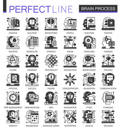 brain mind process black mini concept icons and vector image